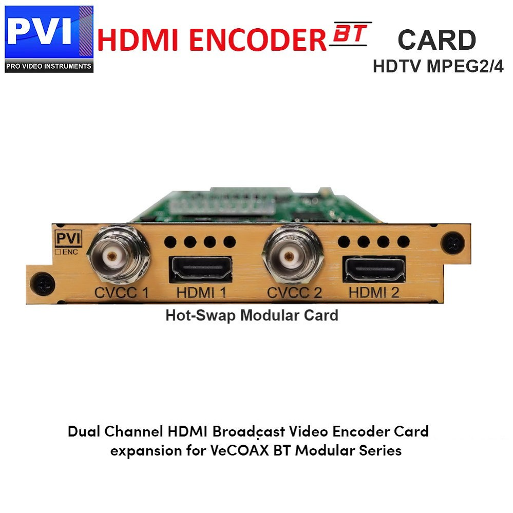 PVI-ENC2-HDMI - 2 Channel HDMI plus YPbPr COMPONENT Video Encoder Card for HDTV Broadcasting in Mpeg2/4 HD/SD 1080p for VeCOAX BT Chassis