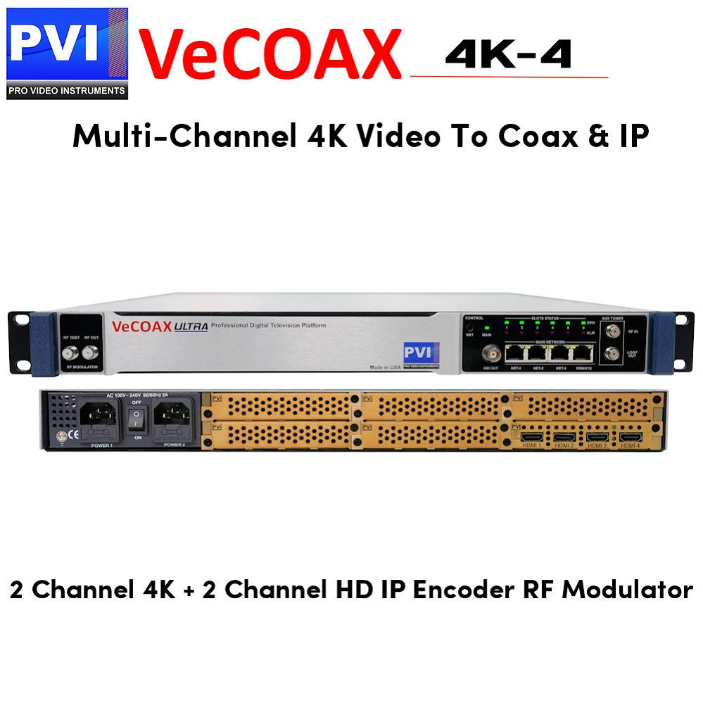 VeCOAX 4K-2  Two Channels HD 4K HDMI Modulator distributes two 4K and two  HD channels to TVs over Coax and IP Streaming