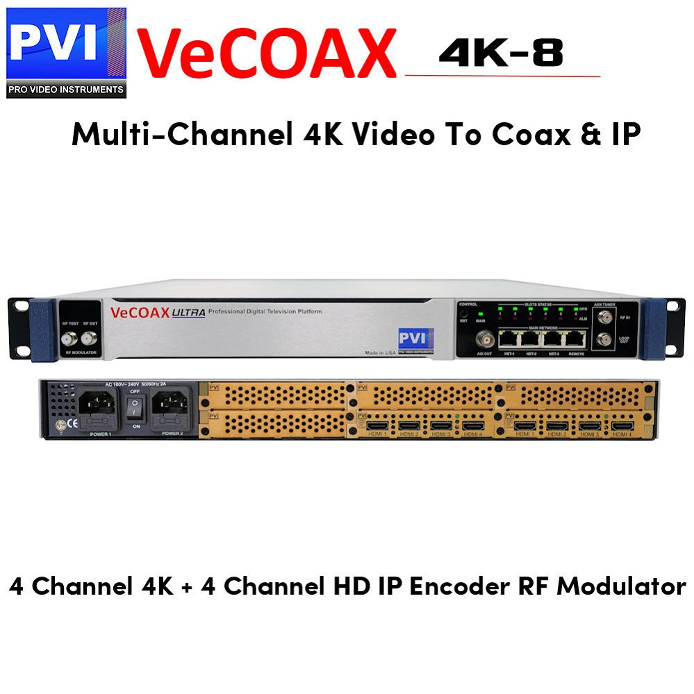 VeCOAX 4K-4 Four Channels HD 4K HDMI Modulator distributes four 4K and  four HD Channels to TVs over Coax and IP Streaming