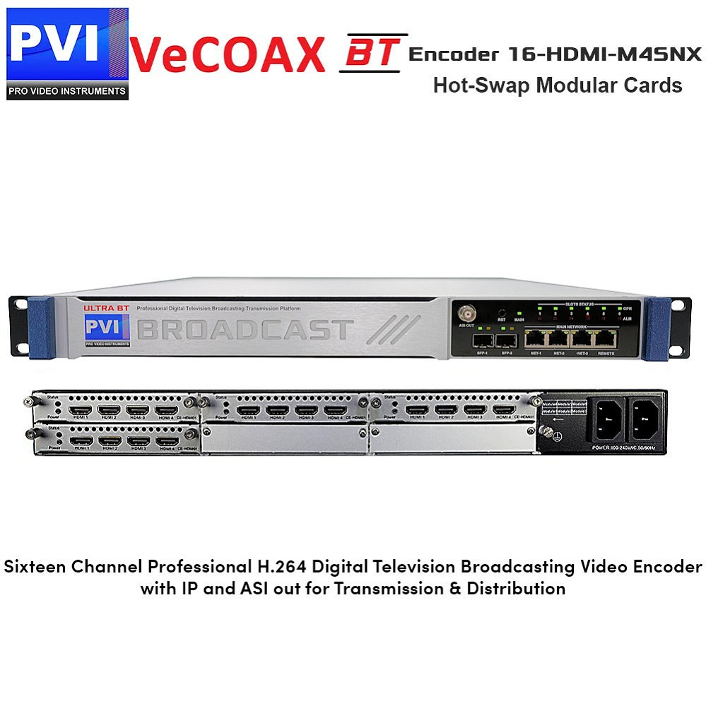 VeCODER-BT 16-HDMI-M4SNX Encoder - 16 Channel Professional H.264 Digital Television Broadcasting Video Encoder with IP and ASI out