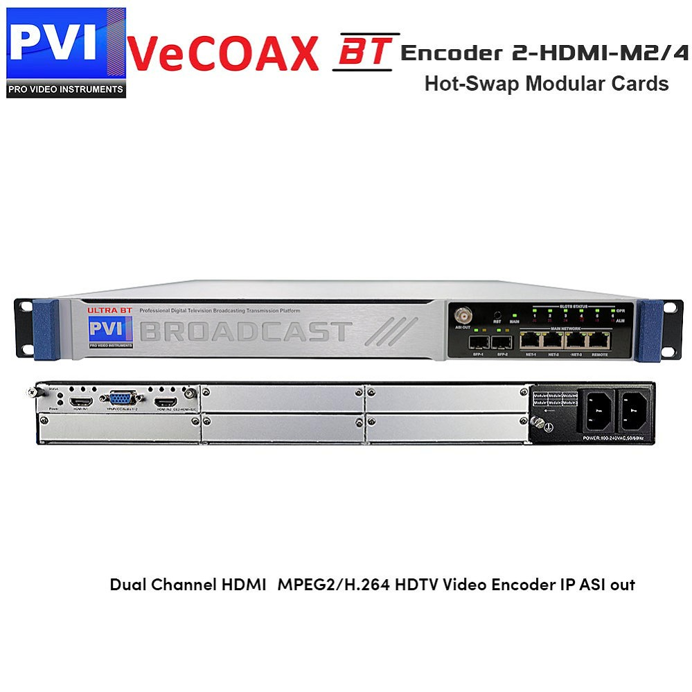 VeCODER-BT2-HDMI-M2/4 Encoder - 2 Channel  HDMI + Component YPbPr MPEG2/H.264 HDTV Video Encoder with IP and ASI out