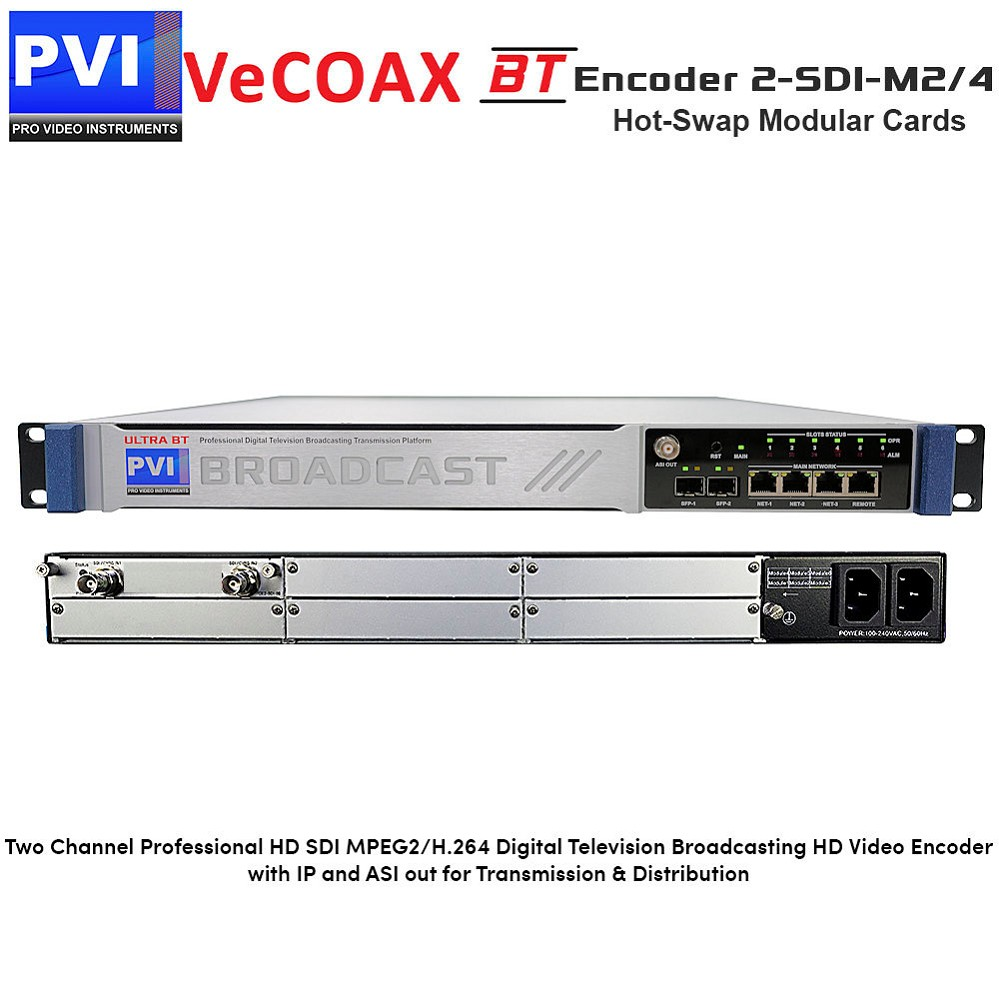 VeCODER-BT 2-SDI-M2/4 Encoder - 2 Channel Professional HD SDI MPEG2/H.264 Digital Television Broadcasting HD Video Encoder with IP and ASI out