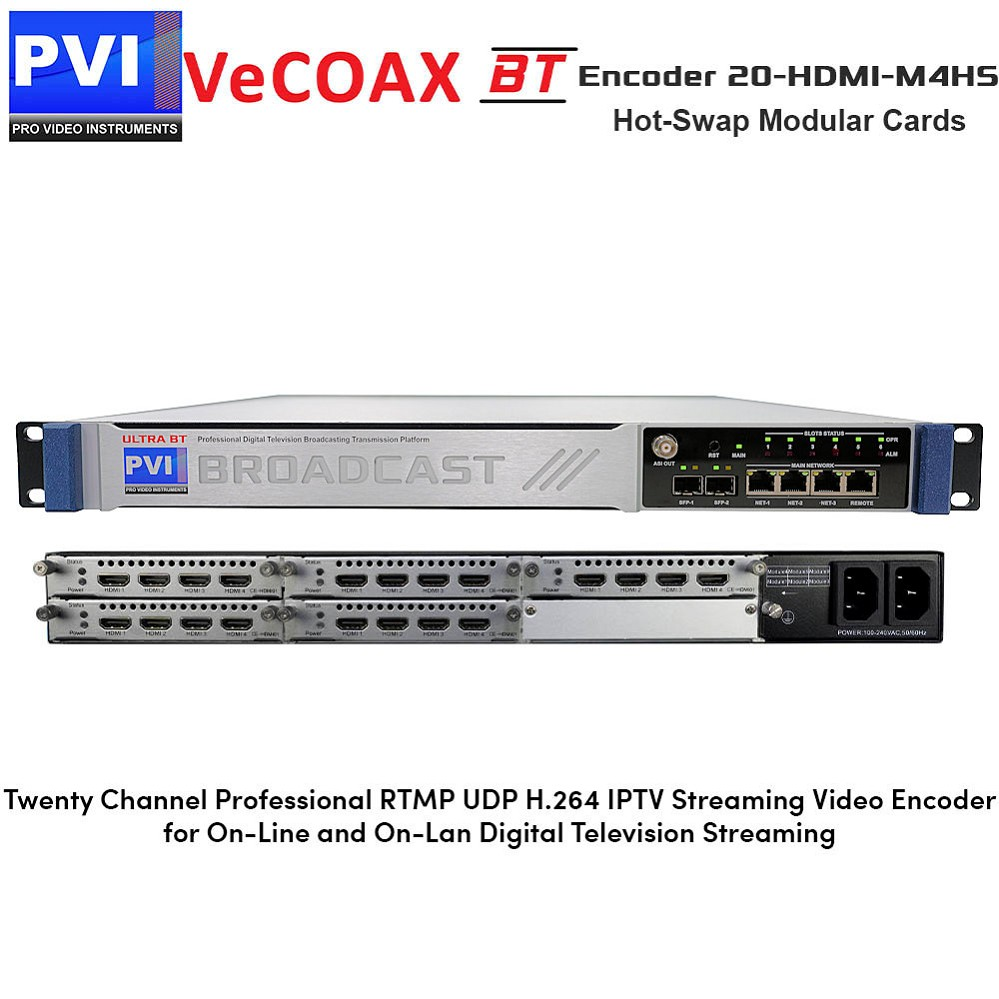 VeCODER-BT ENCODER 20-HDMI-M4HS Twenty Channel Professional RTMP UDP H.264 IPTV Streaming Video Encoder for On-Line and On-LAN Digital Television Streaming