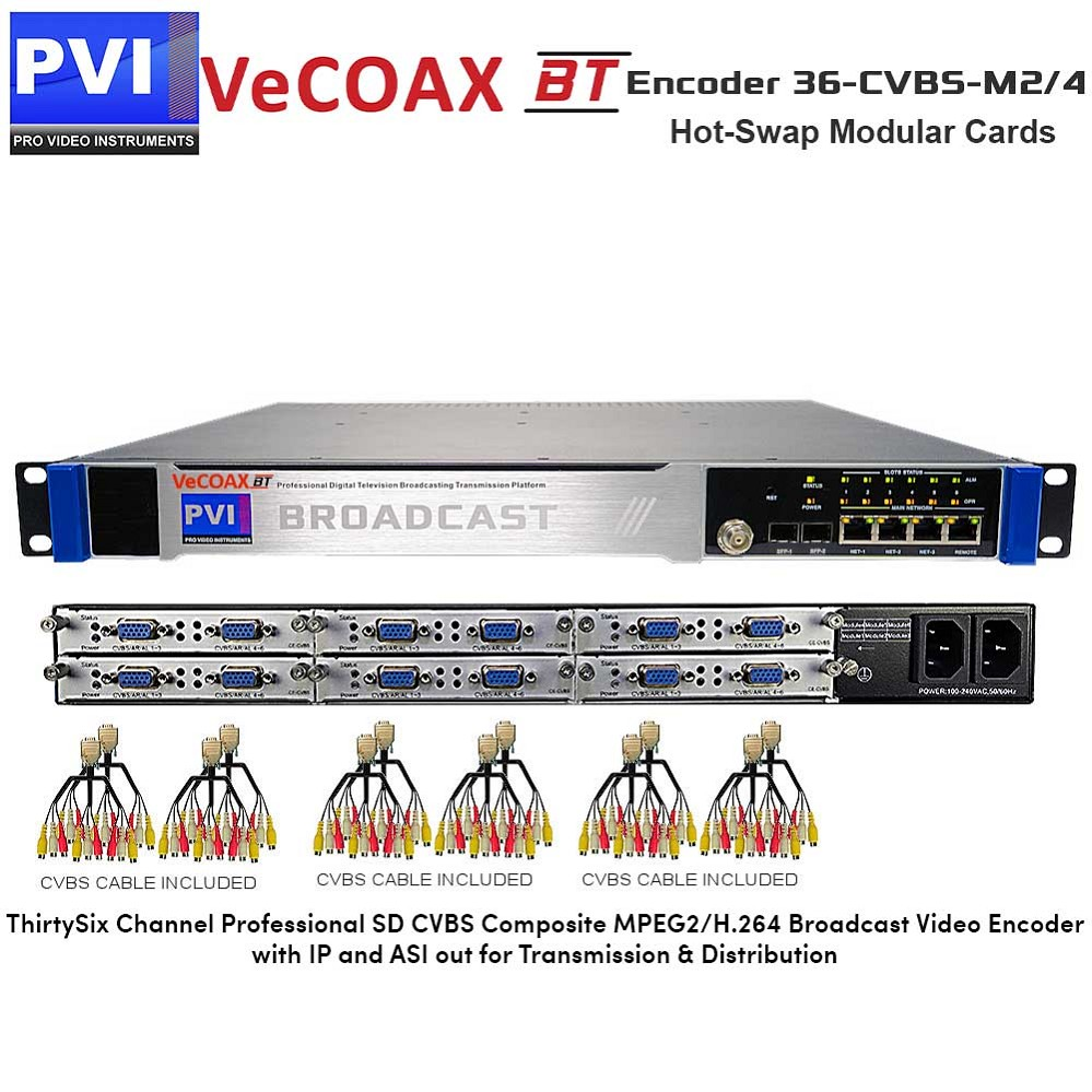 VeCODER-BT 36-CVBS-M2/4 Encoder - 36 Channel Professional SD CVBS Composite MPEG2/H.264 Digital Television Broadcasting Video Encoder with IP and ASI out