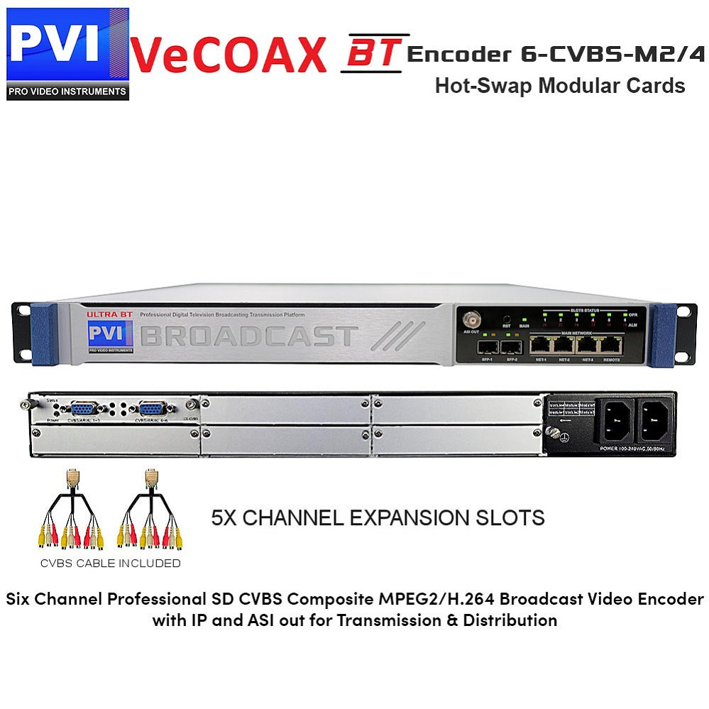 VeCODER-BT 6-CVBS-M2/4 Encoder - 12 Channel Professional SD CVBS Composite MPEG2/H.264 Digital Television Broadcasting Video Encoder with IP and ASI out