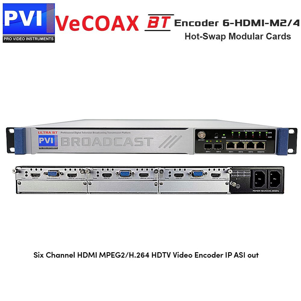 VeCODER-BT 6-HDMI-M2/4 Encoder - 6 Channel HDMI + Component YPbPr MPEG2/H.264 HDTV Video Encoder with IP and ASI out
