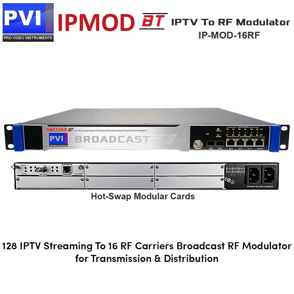 IPMOD-BT-16RF IPTV To RF Modulato - Broadcast IPTV to RF Modulator with 128 IP Inputs 16 Non-Adjacent Re-Muxed RF Carriers Frequencies output