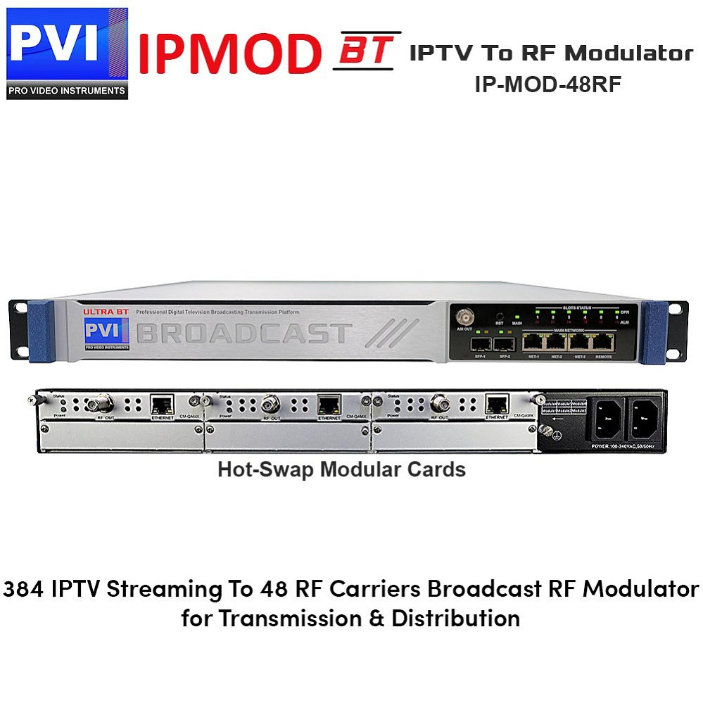 IPMOD-BT-48RF IPTV To RF Modulator - Broadcast IPTV to RF Modulator with 384 IP Inputs 48 Non-Adjacent Re-Muxed RF Carriers Frequencies output