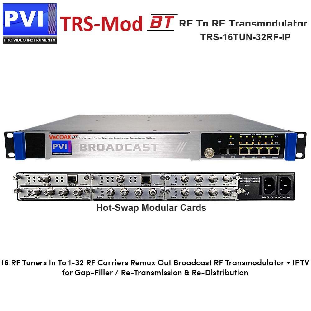 TRS-MOD-BT-16-TUN-32RF-IP - RF TO RF Broadcast Transmodulator Gap-Filler with 16 tuners in Remux Restamp and 1 to 32 Non-Adjacent RF Frequencies Out plus IPTV
