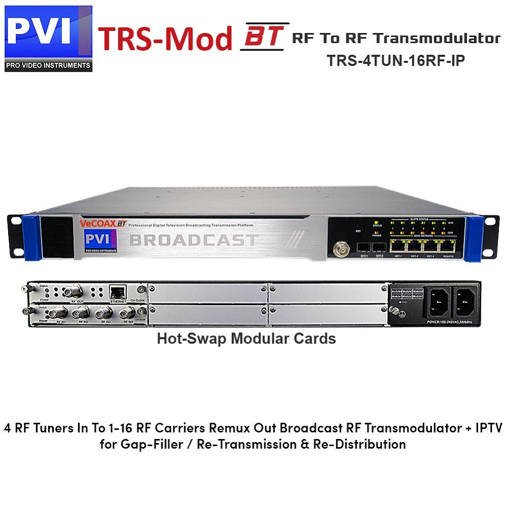 TRS-MOD-BT-4TUN-16RF-IP - RF TO RF Broadcast Transmodulator Gap-Filler with  4 tuners in Remux Restamp and 1 to 16 Non-Adjacent RF Frequencies Out plus
