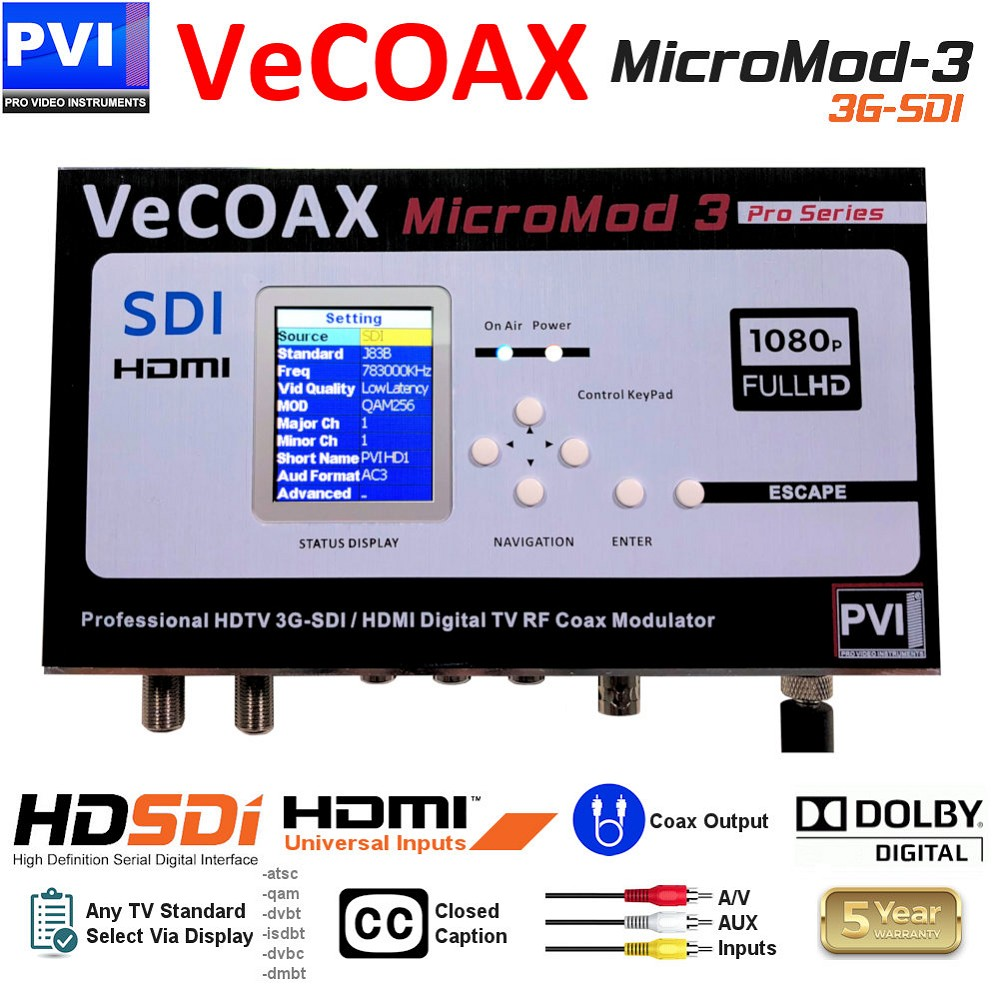 VECOAX MICROMOD-3-SDI is a Broadcast 3G SDI HDMI AV Modulator to distribute HD Video Over coax with real time perfect quality