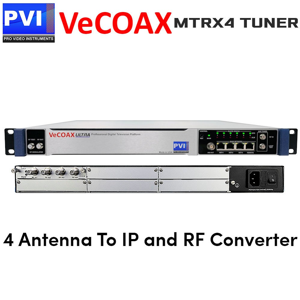 VeCOAX MTRX-4 Four Tuners Digital TV Receiver To IP Streaming out and Different TV Standard RF Coaxial out Converter
