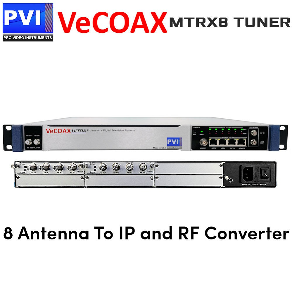 VeCOAX MTRX-8 Eight Tuners Digital TV Receiver To IP Streaming out and Different TV Standard RF Coaxial out Converter
