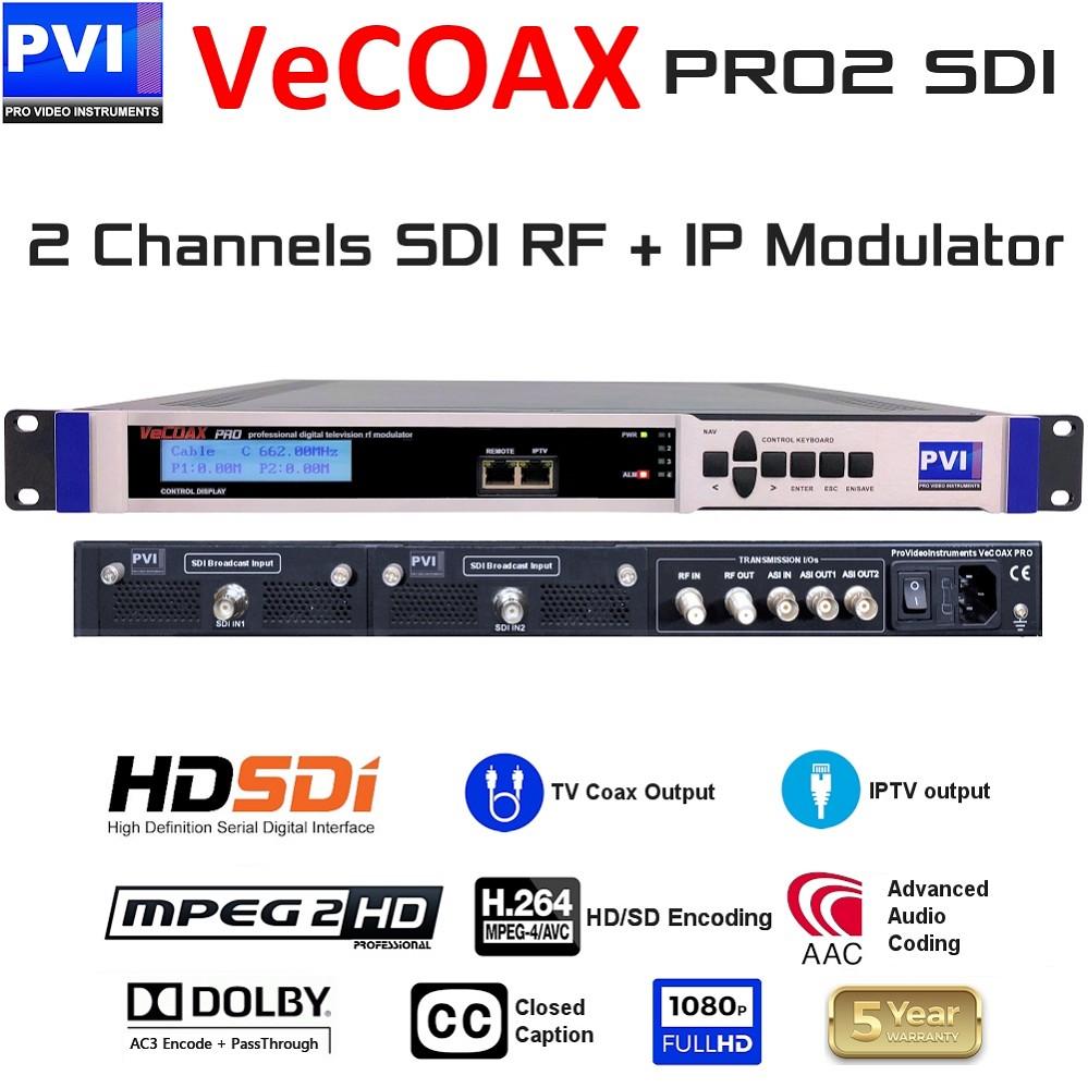 VECOAX PRO2 SDI Is A Two Channels 3G HD Video Encoder Modulator