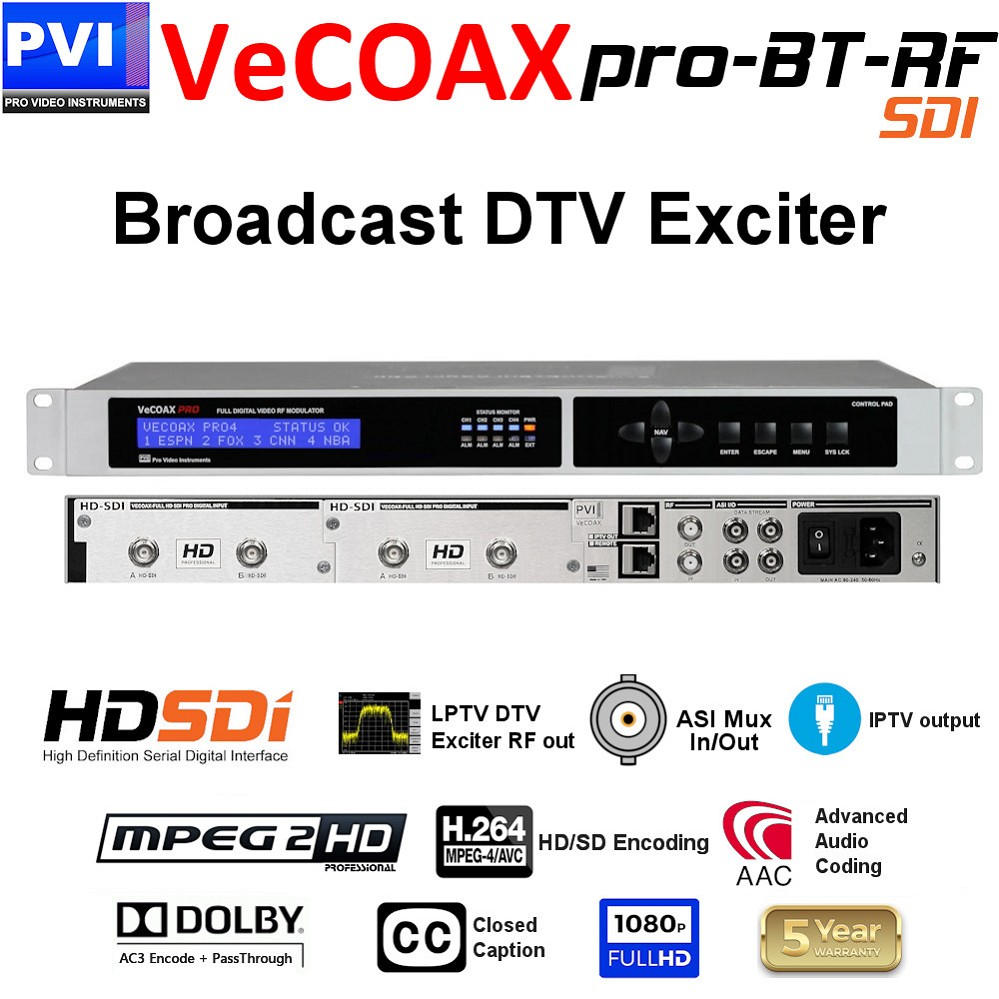 VECOAX PRO-BT-SDI-RF Broadcast SD-HD 3G SDI Video Encoder and Exciter with up to Four simultaneous encoding multiplexing and direct RF modulation out ready for the transmission amplifier