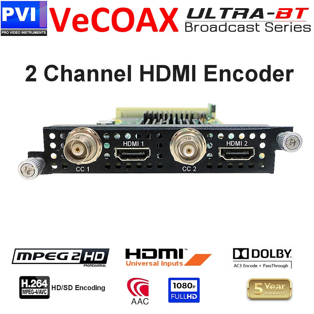 2 Channel HDMI Video + CC Mpeg2 / Mpeg4 HD/SD 1080p Encoder Card <br>XP-2HDMI-E24-ULTRA-BT