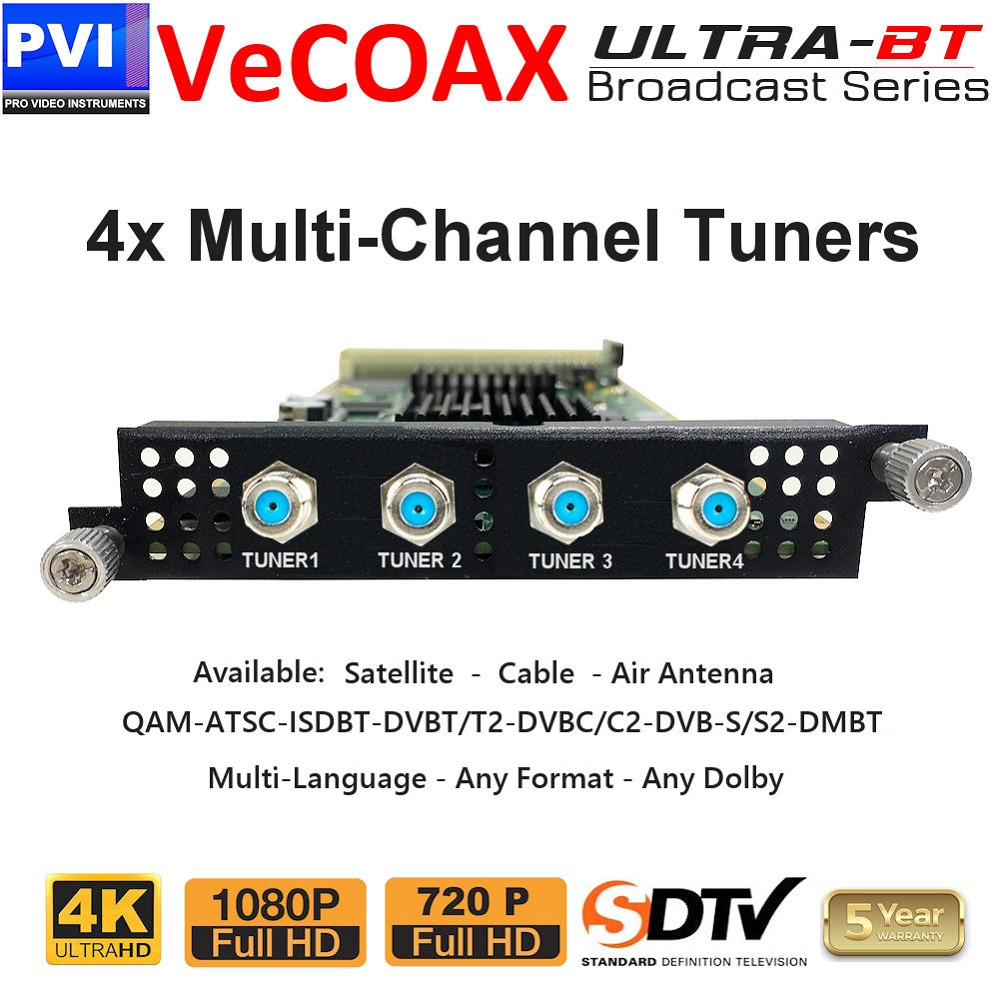4 Multi-Channel Full-Transponder Tuners Receiver Card <br>XP-4TUN-FTA-ULTRA-BT
