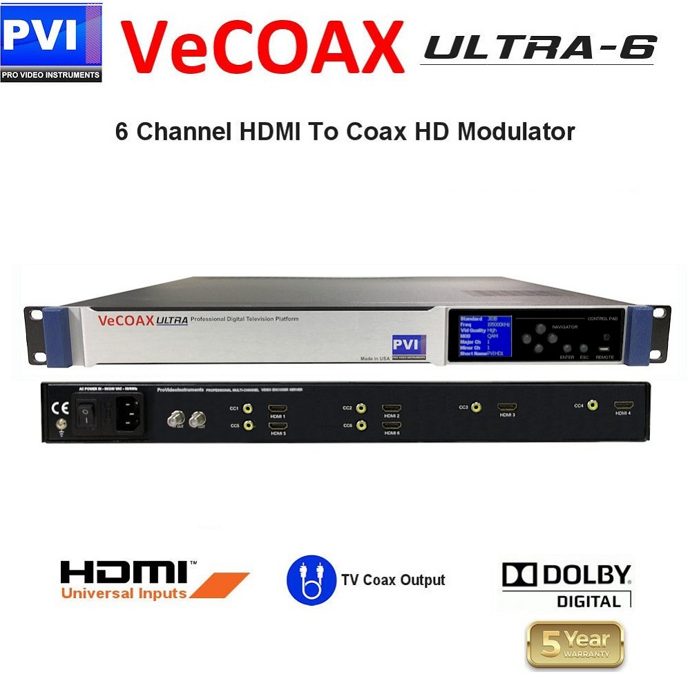 VECOAX ULTRA-6 is a Six channels HDMI Modulator to channels to distribute HD Video Over coax with real time perfect quality