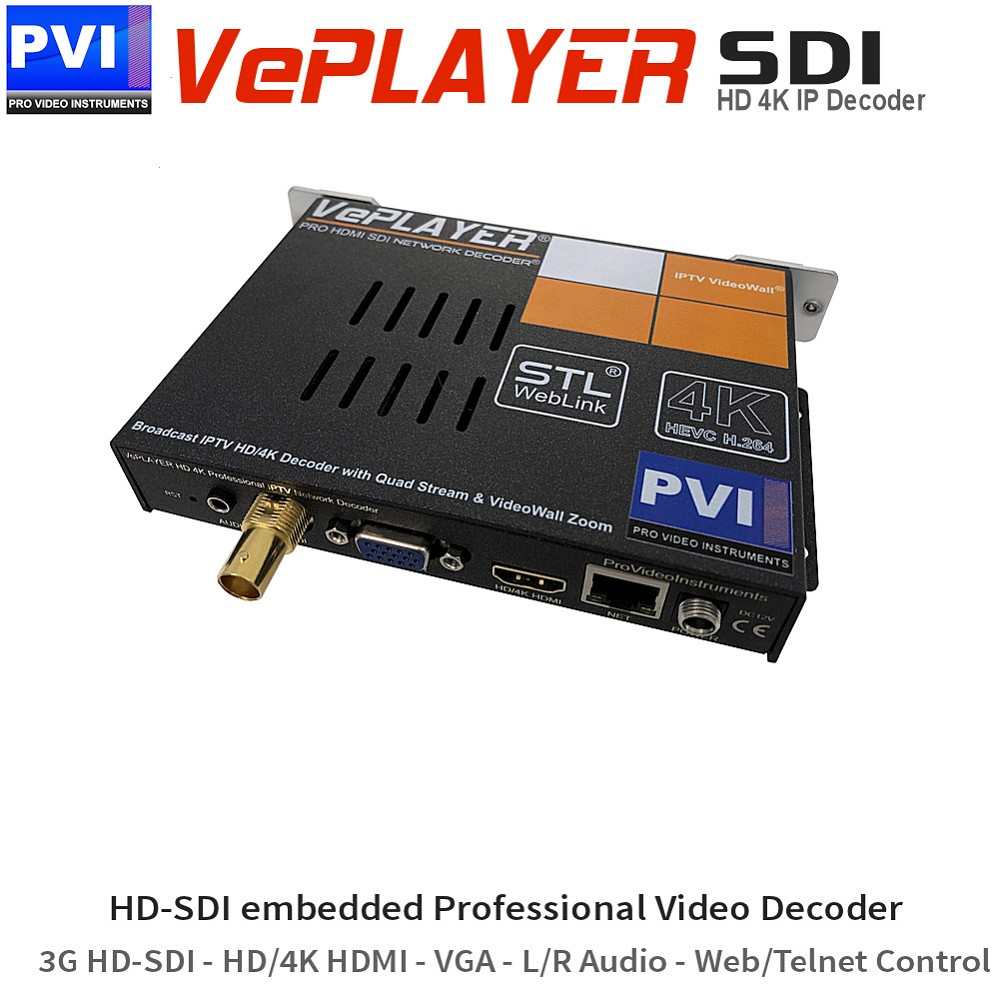 VePLAYER-SDI  Broadcast Professional 3G-HD-SDI Video Decoder with 4K Resolution over HDMI out and 4 Stream Mosaic Mode HEVC H.265 H.264 API Telnet remote control