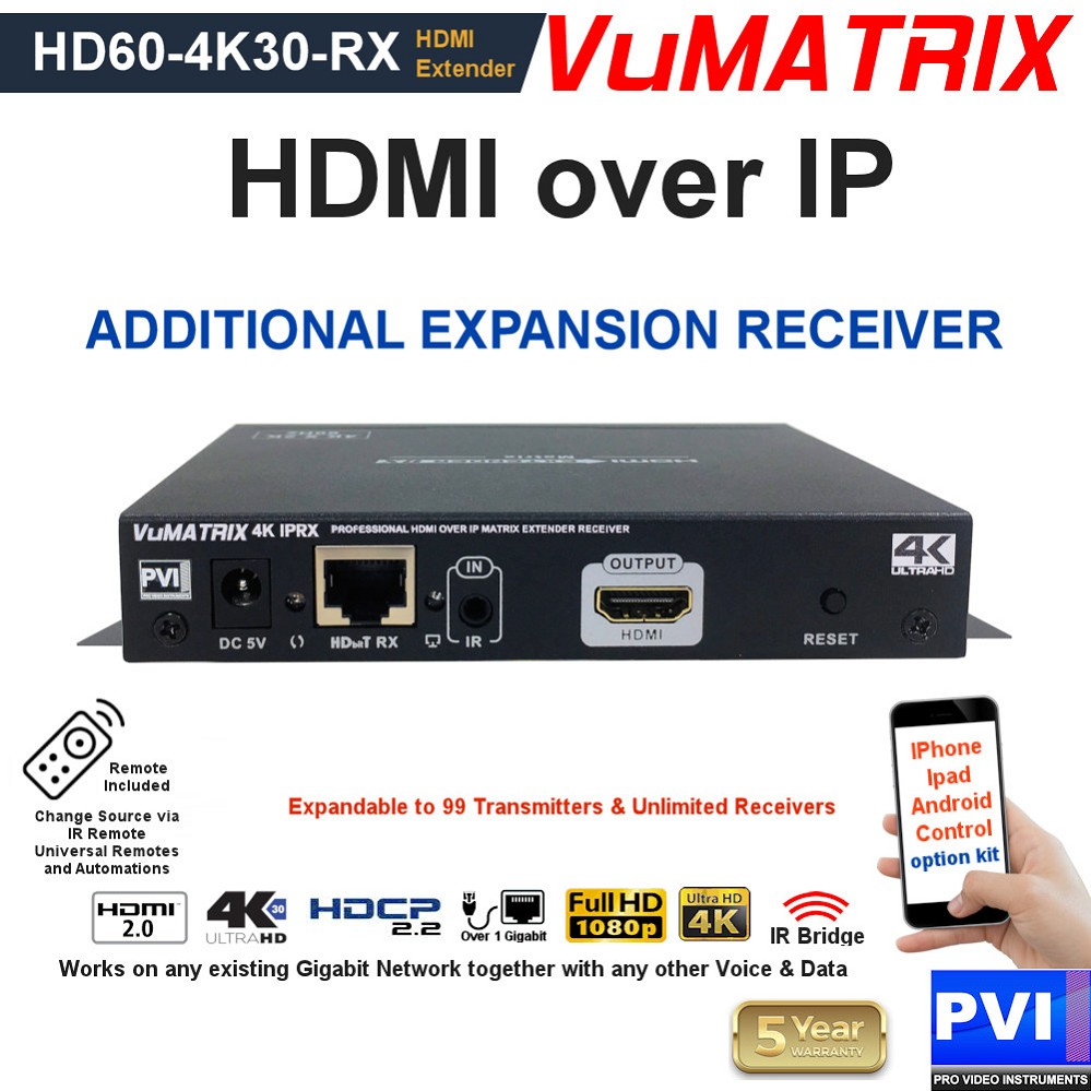 VUMATRIX HD60-4K30-RX is a HD + 4K UHD  additional Expansion Receiver for the VuMATRIX HDMI over IP matrix video distribution systems