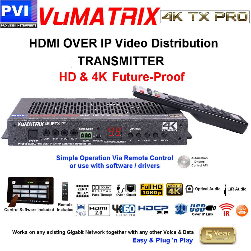 HDMI OVER IP HD & 4K Video Distribution Matrix System - Ethernet Pro TRANSMITTER<br>VuMATRIX-4K-TX-PRO